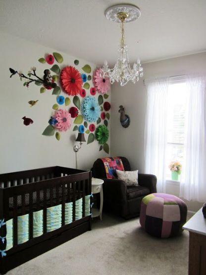 papierowe kwiaty pokój dziecka