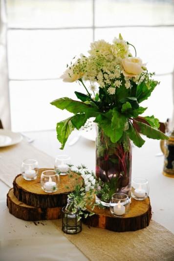 plastry drewna dekoracja stołu ślubnego 2