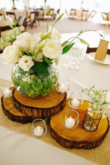 plastry drewna dekoracja stołu ślubnego 3