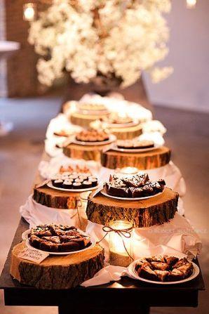 plastry drewna dekoracja stołu ślubnego