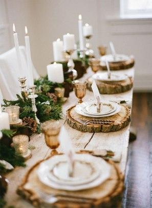 plastry drewna dekoracja stołu