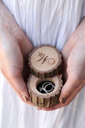 plastry drewna pudełko na obrączki